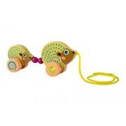 Papá Vaya vibrante madera erizo y del erizo del bebé Tire lo largo del juguete