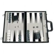 Travel Backgammon Set - Leatherette Velvet Playing Field - 15-inch Black/Grey