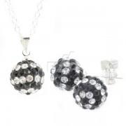 Set Medalion, cercei si lantisor bilute alb-negru din argint 925