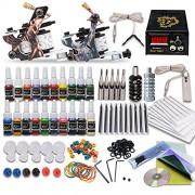 Complete Tattoo Kit 2 Machine Tattoo Gun Power Supply Needles 20 Inks L3