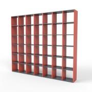 Bücherregal Rot, MDF, 271 cm x 232 cm x 34 cm