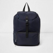 River Island Mens Navy flap top backpack