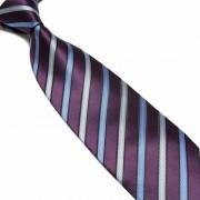 """Purple/Blue/Silver Pattern Striped Microfibre Tie"""