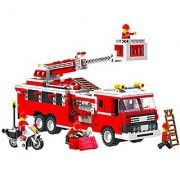 Top Race Fire Truck Vehicle Building Set (567 Pieces) with Fire Chief Motorcycle and Accessories Building Blocks Lego