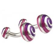 Mousie Bean Enamelled Cufflinks Swirl 066 Tonal Purple