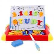 TONOR Drawing Board with Magnetic Letters and Numbers Educational Toys 2 in 1 Learning Case