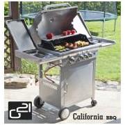 Grillsütő California BBQ Premium line gázgrill, 4 égőfej + nyomáscsökkentő