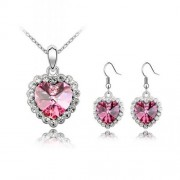 Set Bijuterii Cercei si Colier Royal Pink Crystal