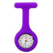 Accessotech Krankenschwester Kittel Lila Gel Silikon Plastik Taschenuhr Brosche Quarz Uhr Uhr