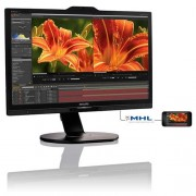 Monitor Philips 241P6VPJKEB, 24'', LED, UHD, IPS, DP, USB, piv, rep