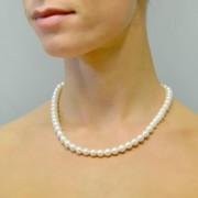 collana filo di perle di acqua dolce 7.50-8.00 mm con chiusura in oro bianco