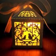 Magideal 50Pc Wedding Candy Box Love Birds Laser Cut Candle Lampshade W/ Ribbon White