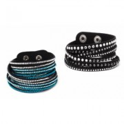 One- or Two-Piece Austrian Crystal Wrap Bracelets: Blue-White/2-Pieces Blue Crystals