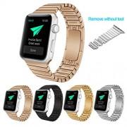 Surwin 42 mm Apple Watch Armband aus Edelstahl Butterfly Verschluss Ersatzband für iWatch alle Versionen OHNE Werkzeug - Rosa