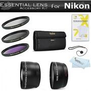 Essential Lens Kit For Nikon Df D5500 D5300 D3300 D5200 D3200 D610 DSLR P600 Camera Which Use (18-55mm 55-200mm 50mm) Nikon Lenses Includes Wide Angle lens + 2X Telephoto Lens + 3pc Filter Kit +++