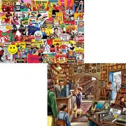 White Mountain Puzzles 1000 Piece Adult Jigsaw Puzzle Bundle: Titles include Pop Culture and Old Book Store