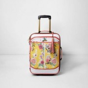 River Island Womens Yellow floral print cabin suitcase