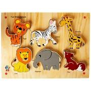 Skillofun Wooden Fun ID - Wild Animals (Raised), Multi Color