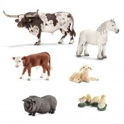Schleich Farm Animals Set of 6; 13721 Texas Longhorn Bull, 13739 Fell Pony Stallion, 13765 Hereford Calf, 13747...