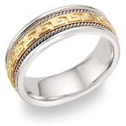 Greek Key Wedding Band, 14K Two-Tone Gold