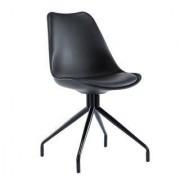 Sediadaufficio Sedia di Design per Ospiti RECULA, stile originale con base in metallo e seduta in pelle nera