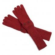 Długie krótkie rękawiczki MITENKI w kolorze ceglastej czerwieni