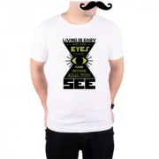 Mooch Wale Close Your Eyes And See Misunderstanding White Poly Cotton T-shirt For Men