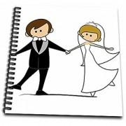 3dRose Dancing Bride & Groom Cartoon - Drawing Book 8 by 8-Inch (db_165464_1)