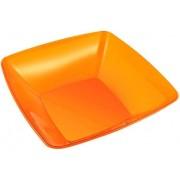 Bol de Plastico Cuadrado Naranja 28x28cm (20 Uds)