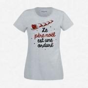 T-Shirt Femme Gris Le Père Noël Est Une Ordure