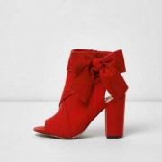 River Island Womens Red bow side shoe boots
