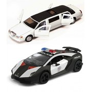 Playking Kinsmart Combo of Lamborghini Sesto Elemento Police Car and 1999 Lincoln Town Car Stretch Limousine 5'' Die Cast Metal, Doors Openable and Pull Back Action (Color May Vary)
