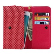 5 inch Universal Pearl Grid Texture Leather Case with Wallet & Card Slots & Lanyard for iPhone 6 & 6S / 5S / 5C Samsung Galaxy E5 / A5 / J5(Red)