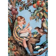 Girl Reading to Birds - Books & Readers Greeting Card by Molly Benatar