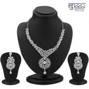 Sukkhi Ritzzy Rhodium Plated Australian Diamond Necklace Set