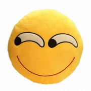Soft Smiley Emoticon Yellow Round Cushion Pillow Stuffed Plush Toy Doll (Supercilious Look)