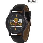 Relish Round Dial Black Leather Strap Quartz Watch For Men