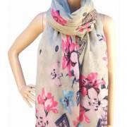 RAYFLECTOR Šedý šátek s motivem květin