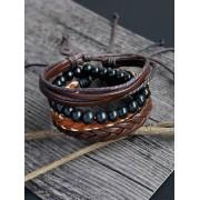 Zaful Jeu de bracelet en faux cuir tissé et en perles