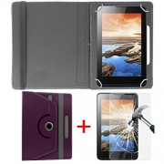 """Hello Zone Exclusive 360° Rotating 7"""" Inch Flip Case Cover + Free Tempered Glass for iBall Slide Gorgeo 4GL -Purple"""