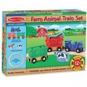 Дървена влакова композиция с животни от фермата, 10644 Melissa and Doug, 000772106443