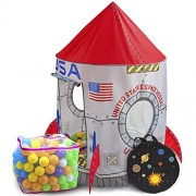 Space Adventure Roarin Rocket Play Tent With 200 Soft Ball Pit Balls With Fun Illustrations By Imagination Generation