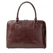 Damen Leder Businesstasche in Dunkelbraun - Aktentasche, Dokumententasche, Dokumentenmappe, Laptoptasche