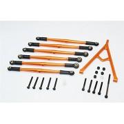 Axial SCX10 & Wraith Upgrade Parts Aluminium Adjustable Link Parts With Mount For 315mm Wheelbase - 7Pcs Set Orange