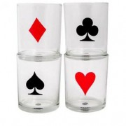 Copos De Whisky Poker Baralho Naipe Poker - 4 Pecas
