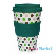 Ecoffee Cup hordozható kávéspohár Green Polka 400 ml