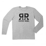 RIPPED REBEL MEN'S LONG SLEEVE CREW NECK (RR Grey XXL)
