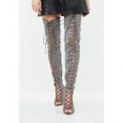 Missguided Grey Lace Up Thigh High Gladiator Boots, Grey