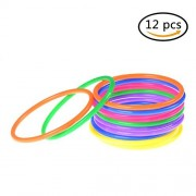 12Pcs Plastic Toss Rings Multicolor Tossing Rings for Carnival Garden Backyard Children's Party Indoor and Outdoor Games
