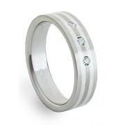 Ocelový prsten se stříbrem ZAG05850